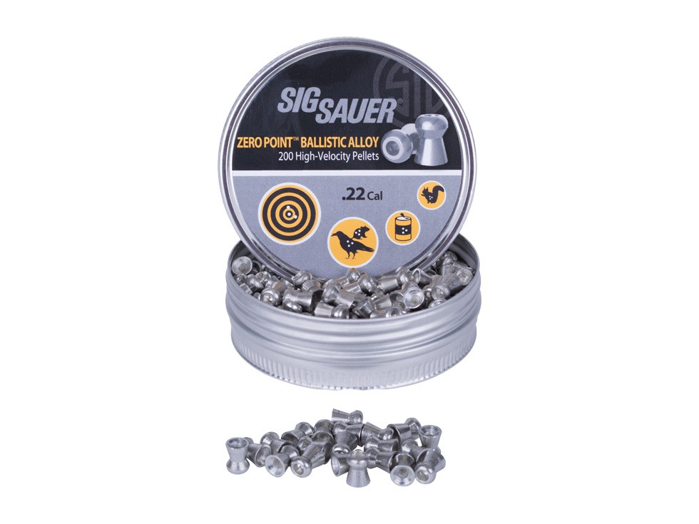 Sig Sauer Zero Ballistic Alloy Pellets, .22 Cal, 11.81 Grains, Hollowpoint, 200ct