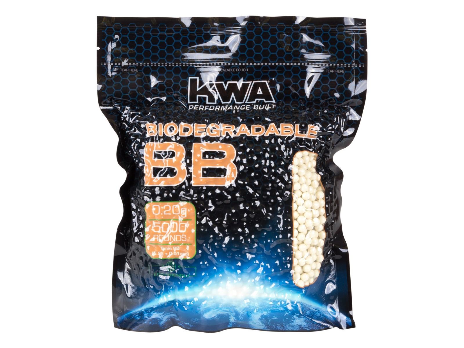 KWA Biodegradable Airsoft BBs, 0.20g, White, 5,000 Rds