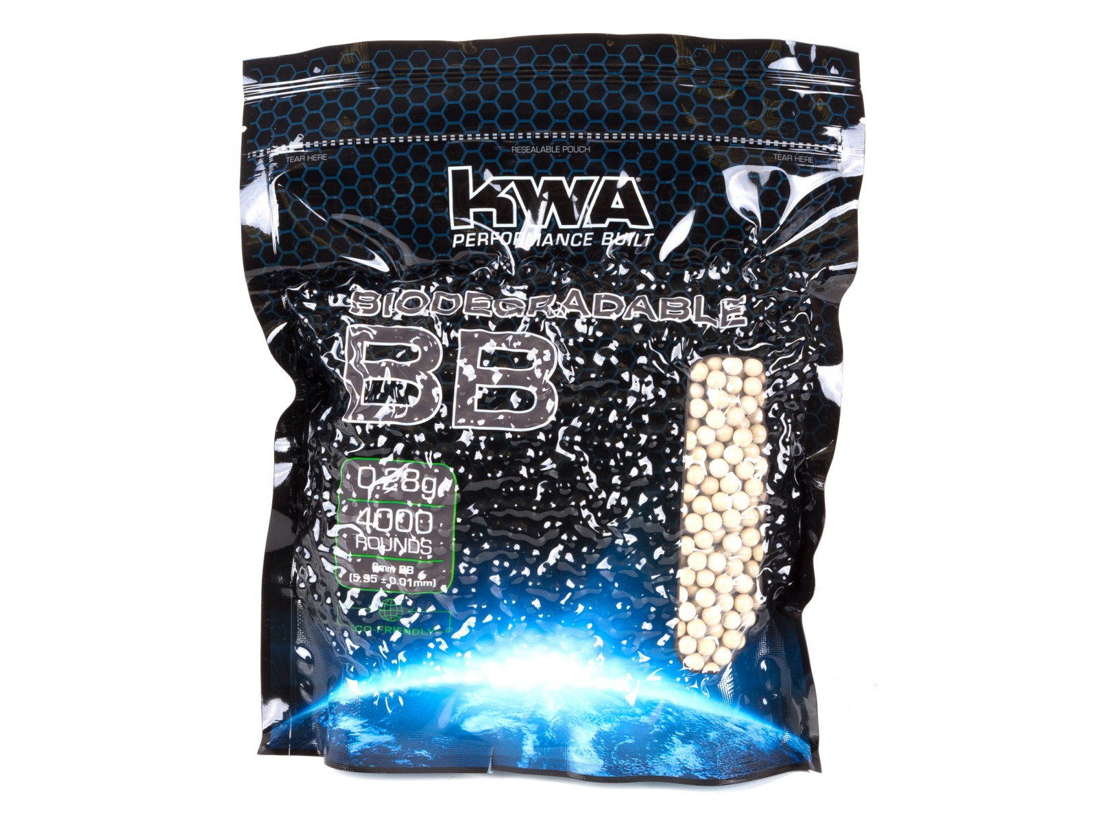 KWA 6mm Biodegradable Airsoft BBs, 0.28g, 4000rds, White