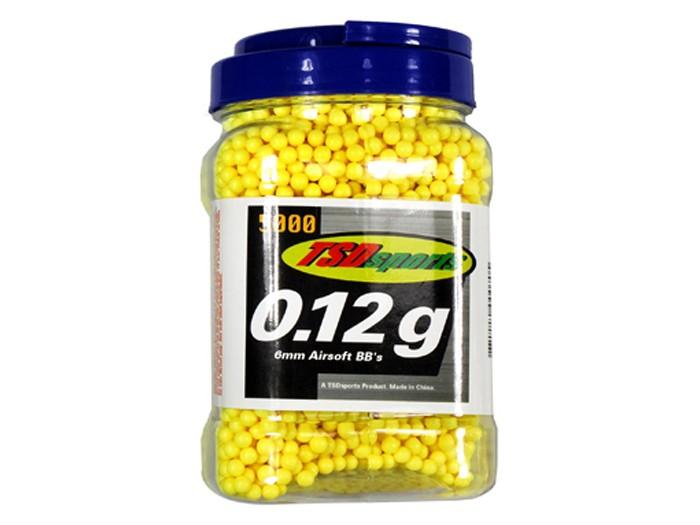 TSD Sports 6mm plastic airsoft BBs, 0.12g, 5000 rds, yellow