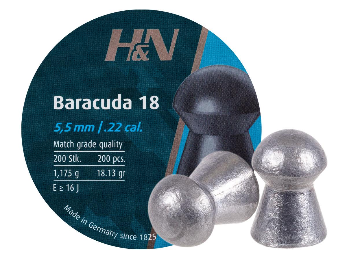 H&N Baracuda 18, .22 Cal, 18.13 Grains, Round Nose, 200ct