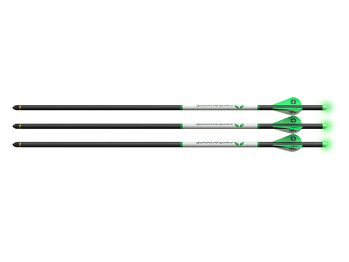 """CenterPoint 20"""" Premium Carbon Arrows, Lighted Green Nocks, 3 Pack"""