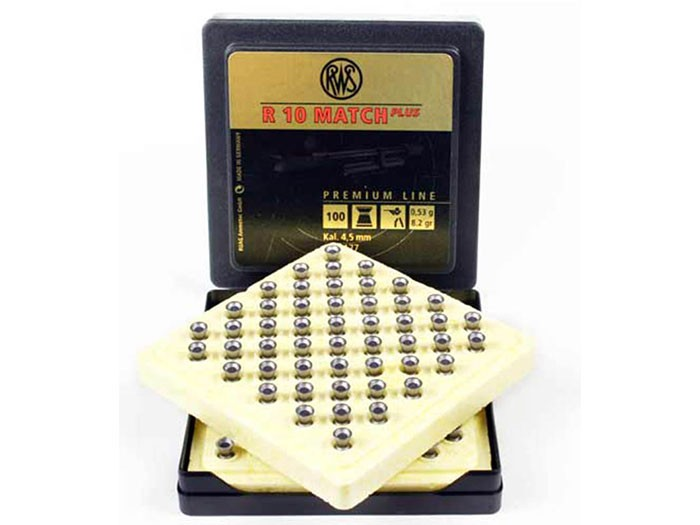 RWS-R-10 Match Heavy .177 Cal, 8.2 Grains, Wadcutter, 500ct sold in a sleeve of five with match pellet holders