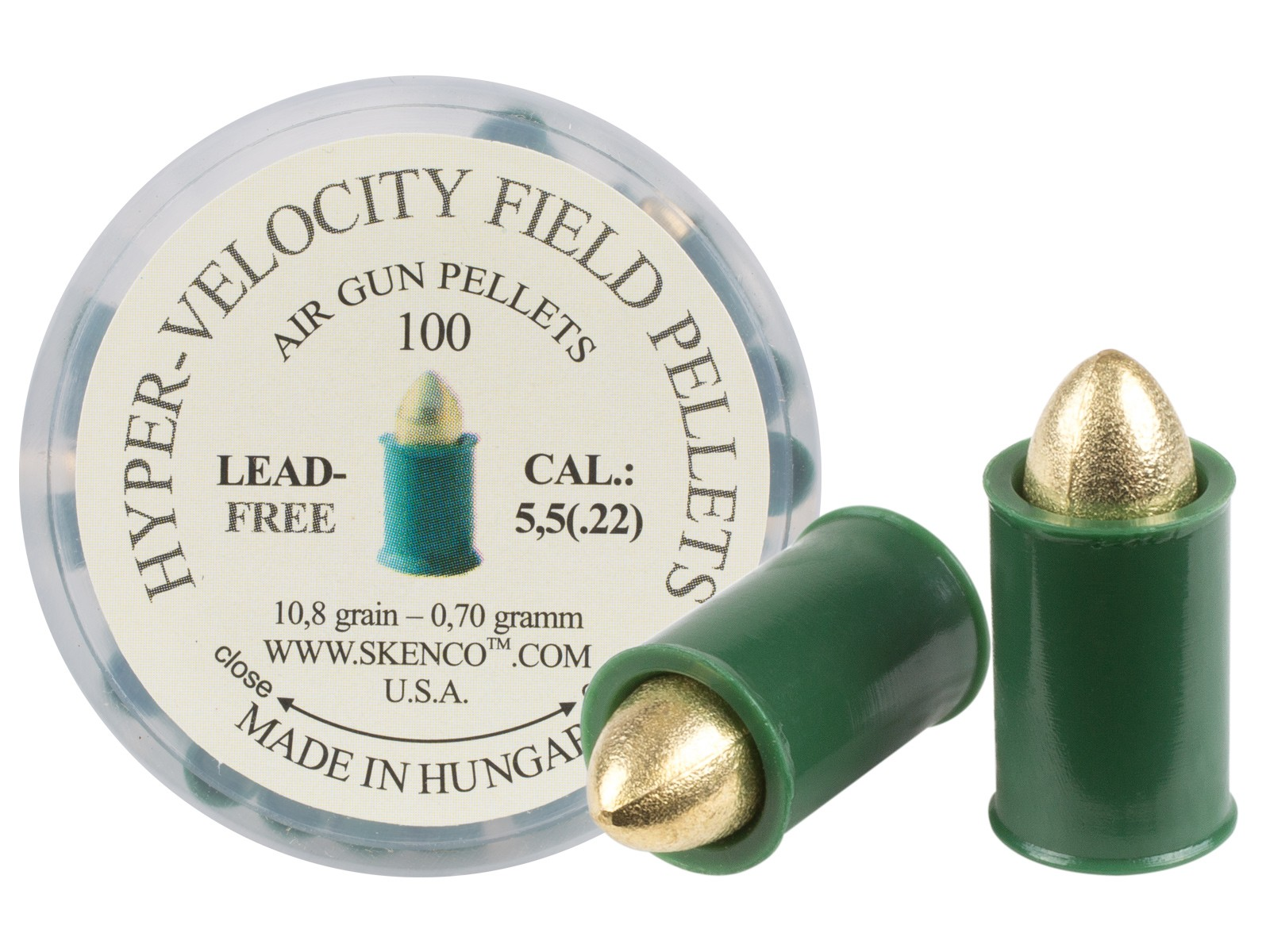 Hyper-Velocity Field Pellets, Type 1 for Standard Guns, .22 Cal, 10.8 Grains, Pointed, Lead-Free, 100ct
