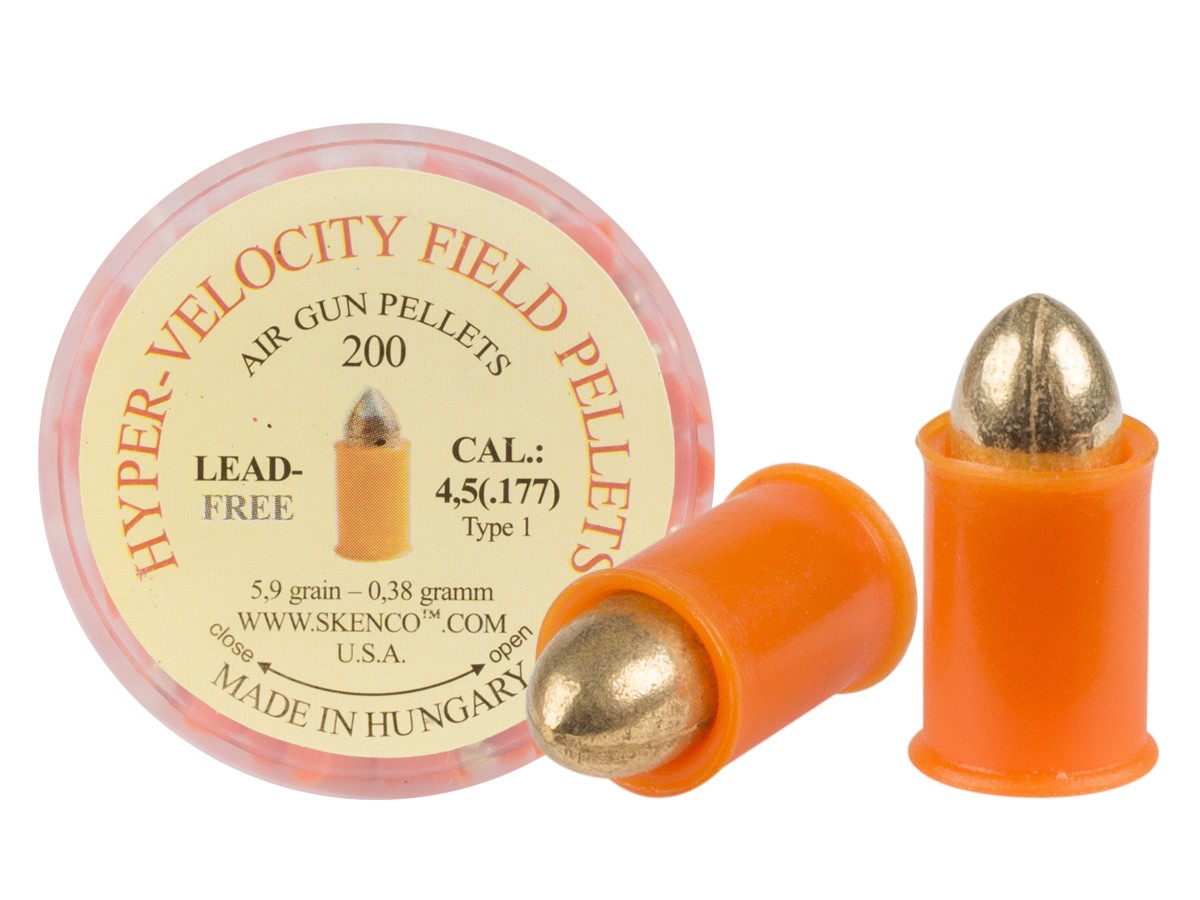 Hyper-Velocity Field Pellets, Type 1 for Standard Guns, .177 Cal, 5.4 Grains, Pointed, Lead-Free, 200ct