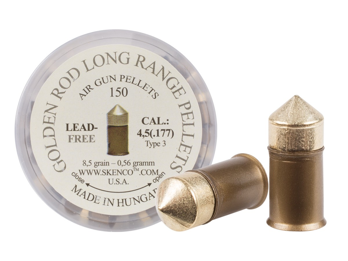 Golden Rod Long-Range Pellets, Type 3, .177 Cal, 8.5 Grains, Pointed, Lead-Free, 150ct