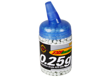 TSD Competition Grade AEG 6mm plastic airsoft BBs, 0.25g, 1,000 rds, white