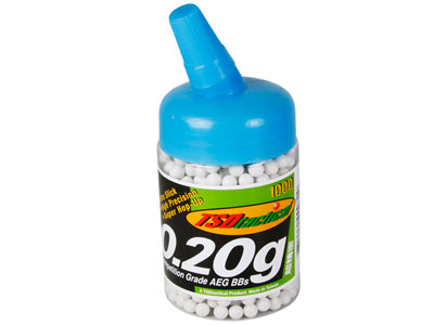 TSD Competition Grade AEG 6mm plastic airsoft BBs, 0.20g, 1,000 rds, white
