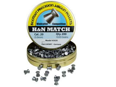 Beeman H&N Match .20 Cal, 10.03 Grains, Wadcutter, 200ct