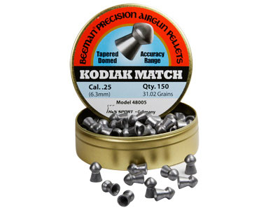 Beeman Kodiak Match Extra Heavy .25 Cal, 31.02 Grains, Domed, 150ct