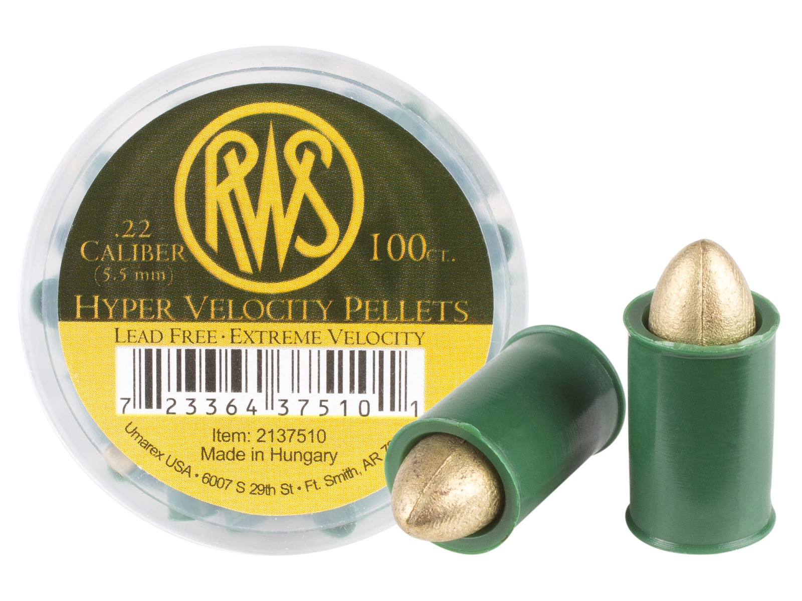 RWS Hyper Velocity .22 Cal, 11 Grains, Pointed, Lead-Free, 100ct