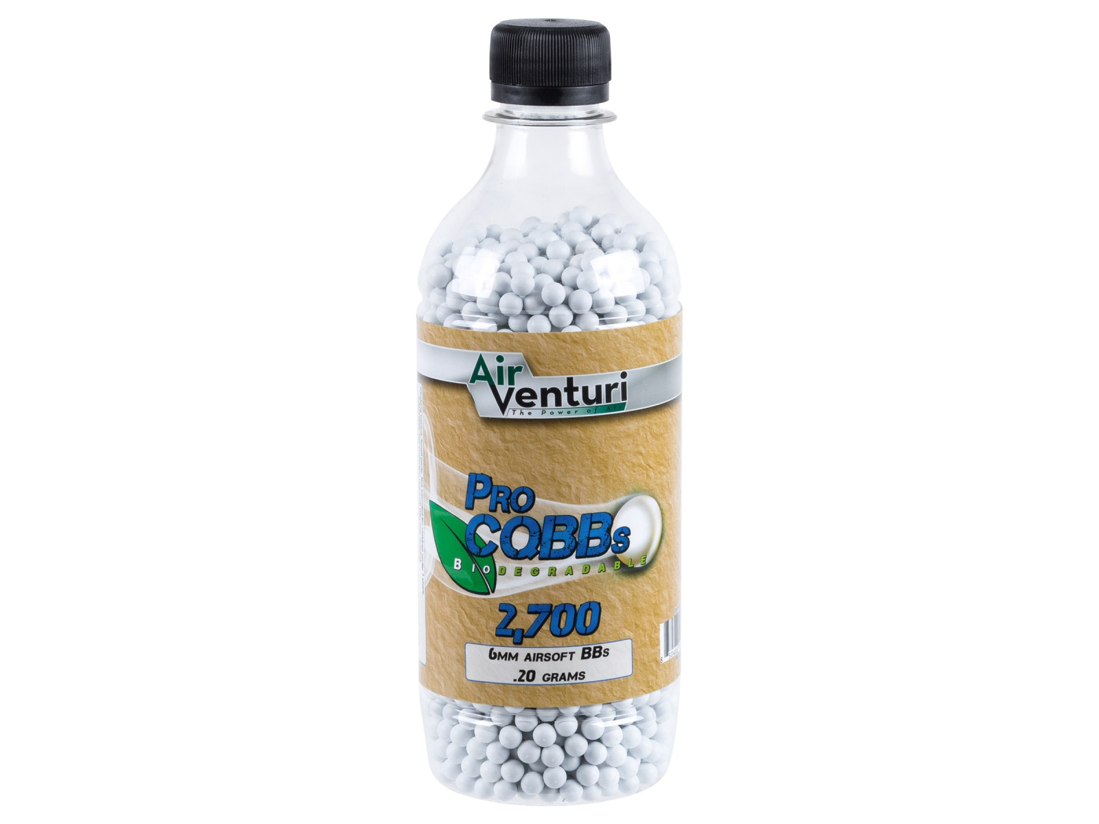 Air Venturi Pro CQBBs 6mm biodegradable airsoft BBs, 0.20g, 2700 rds, white