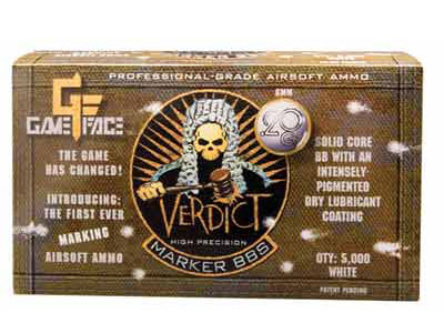 Game Face Verdict 6mm Marking Airsoft BBs, 0.20g, 5000 rds, White