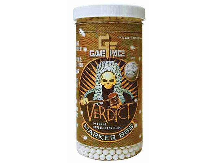 Game Face Verdict 6mm Marking Airsoft BBs, 0.25g, 2200 rds, White