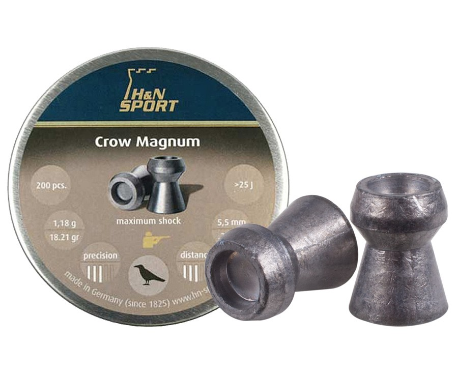 H&N Crow Magnum .22 Cal, 18.21 Grains, Hollowpoint, 200ct