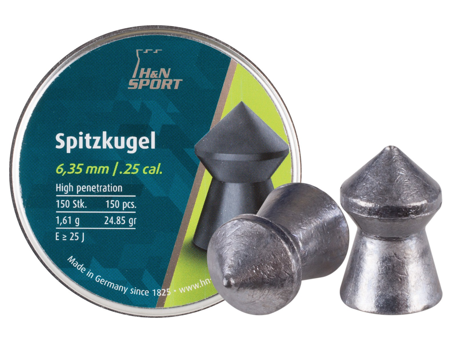 H&N Spitzkugel .25 Cal, 24.85 Grains, Pointed, 150ct