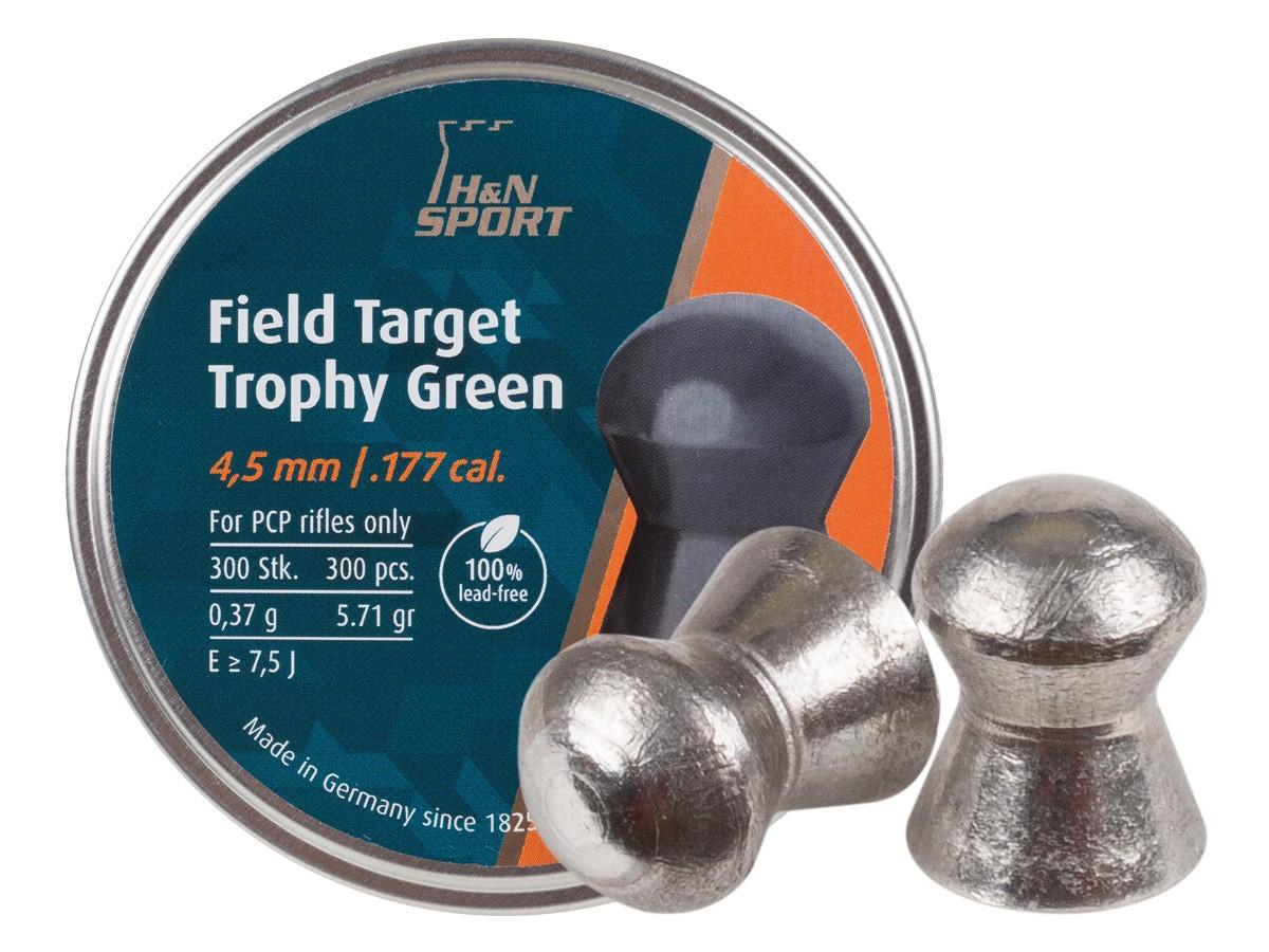 H&N Field Target Trophy Green .177 Cal, Lead-Free, 5.71 Grains, Domed, 300ct