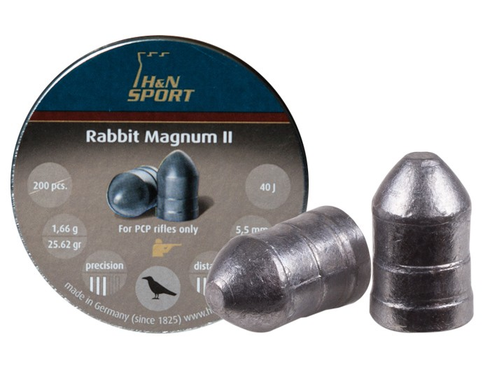 H&N Rabbit Magnum II .22 Cal, 25.62 Grains, Cylindrical, Solid, 200ct