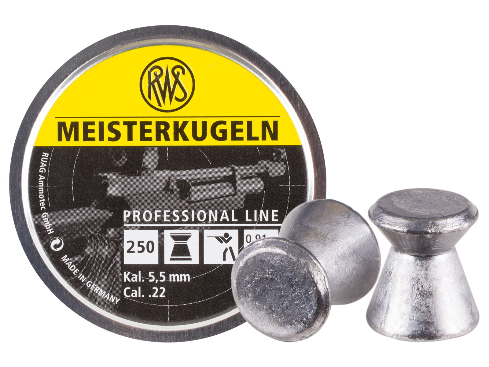 RWS Meisterkugeln Standard .22 Cal, 14.0 Grains, Wadcutter, 250ct