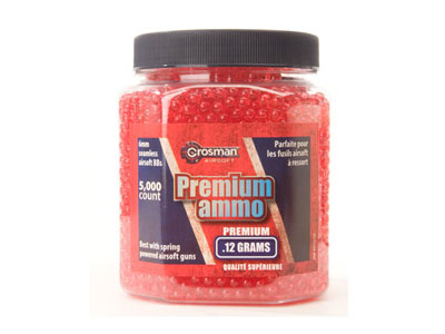 Crosman 6mm plastic airsoft BBs, 0.12g, 5,000 rds, Red
