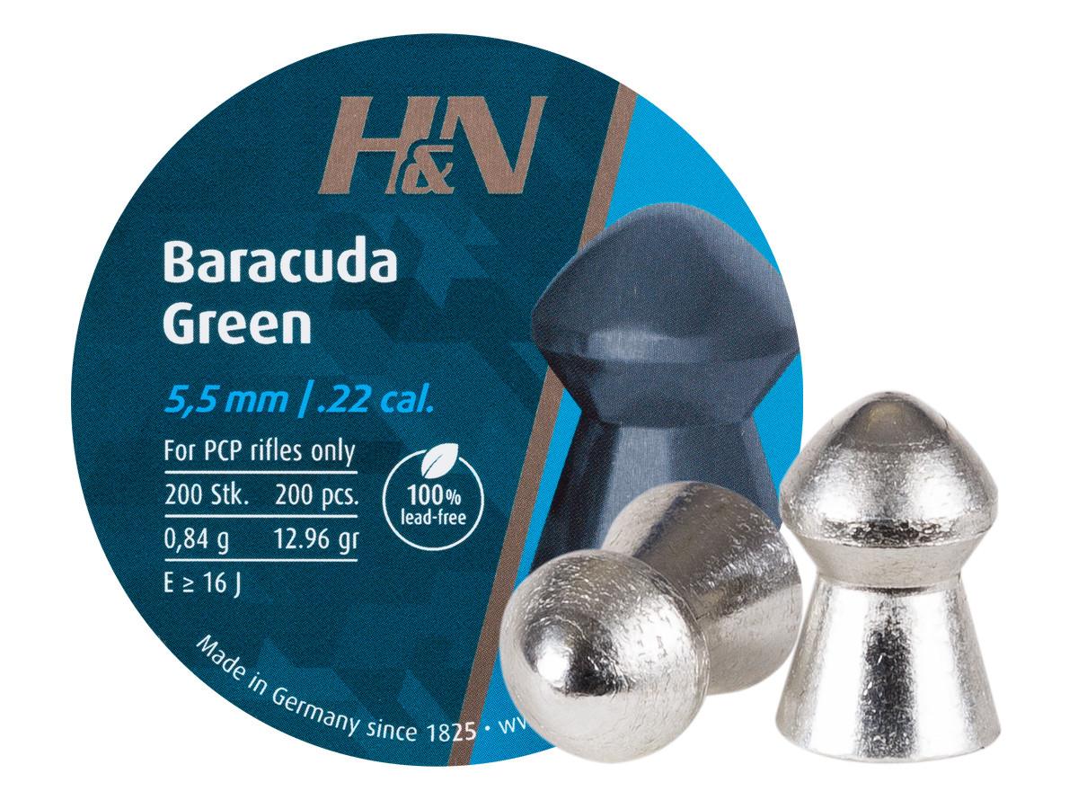 H&N Baracuda Green .22 Cal, 12.96 Grains, Domed, Lead-Free, 200ct