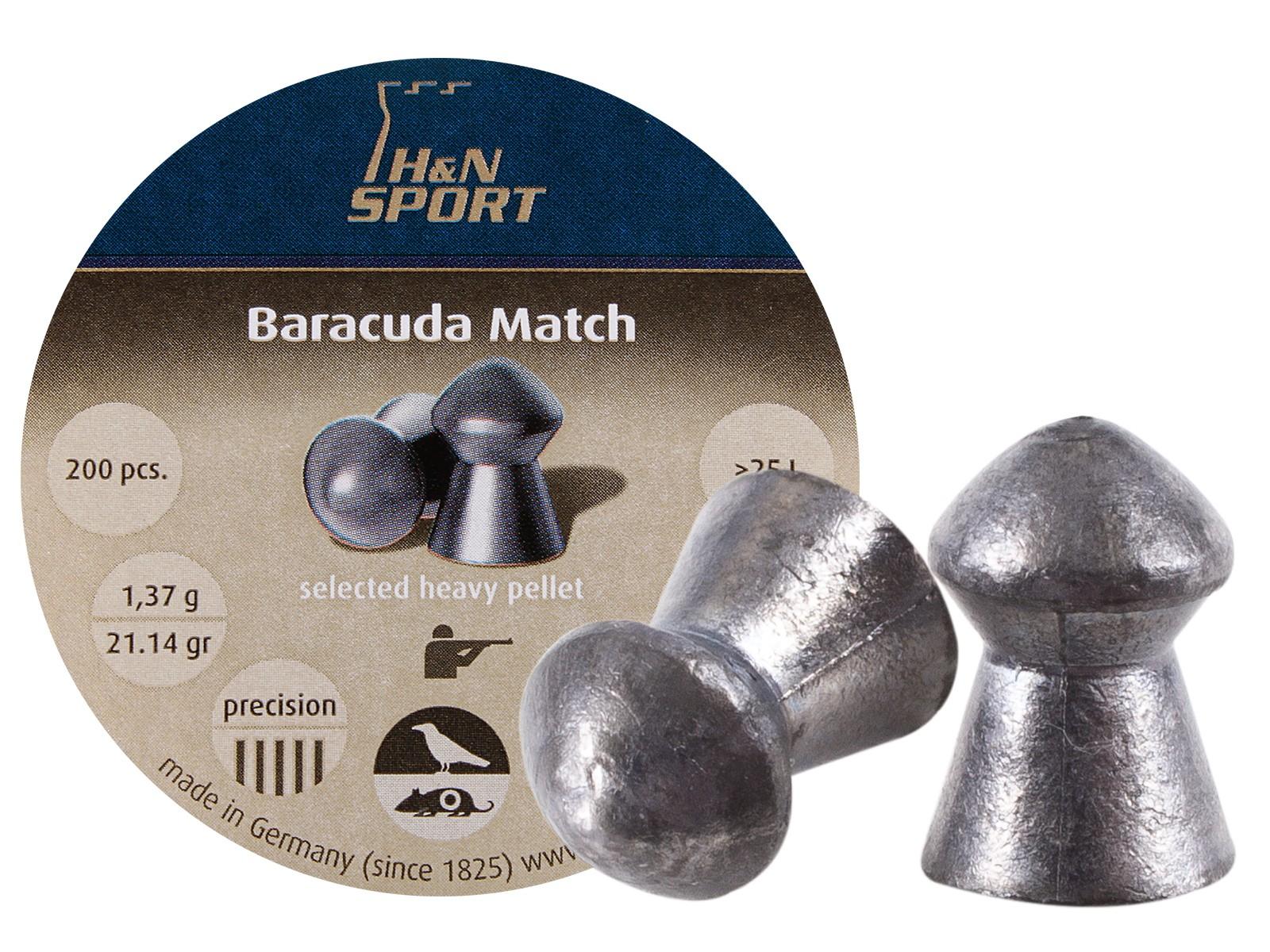 H&N Baracuda Match .22 Cal, 21.14 Grains, Round Nose, 200ct