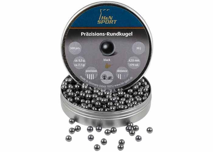 H&N Rundkugel, .177 Cal, 4.54mm Dia., 7.70 Grains, Round Ball, 500ct