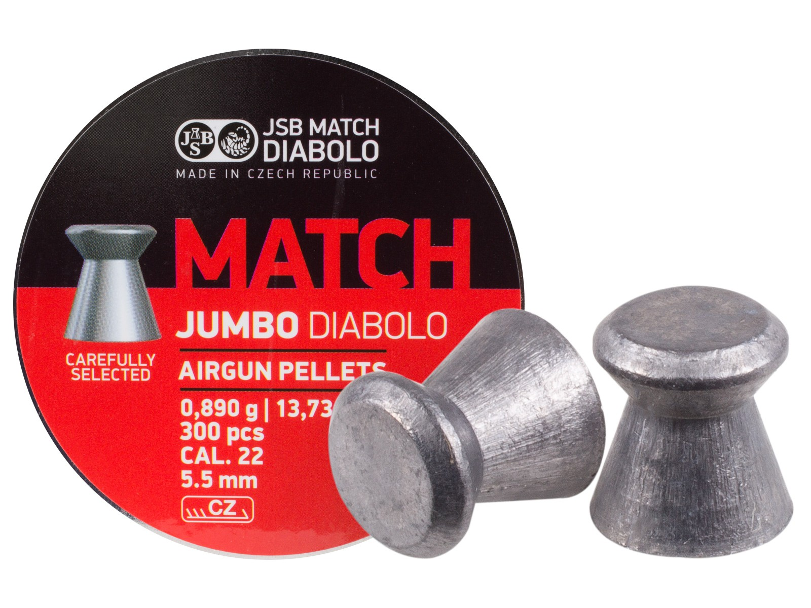 JSB Match Jumbo Diabolo Pellets, .22 Cal, 13.73 Grains, Wadcutter, 300ct