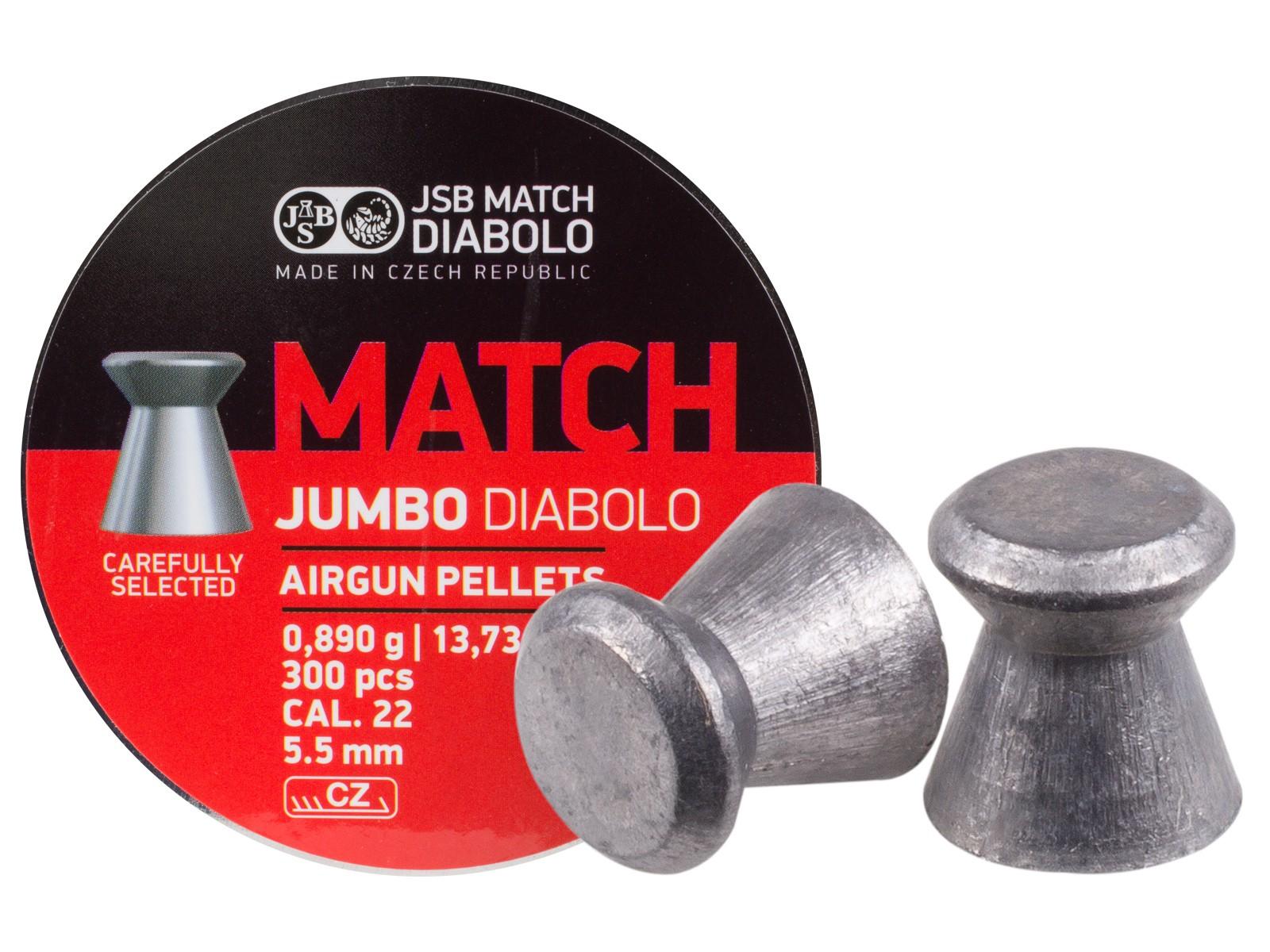 JSB Match Jumbo Diabolo Pellets, .22 Cal, 13.73 Grains, Wadcutter, 300ct