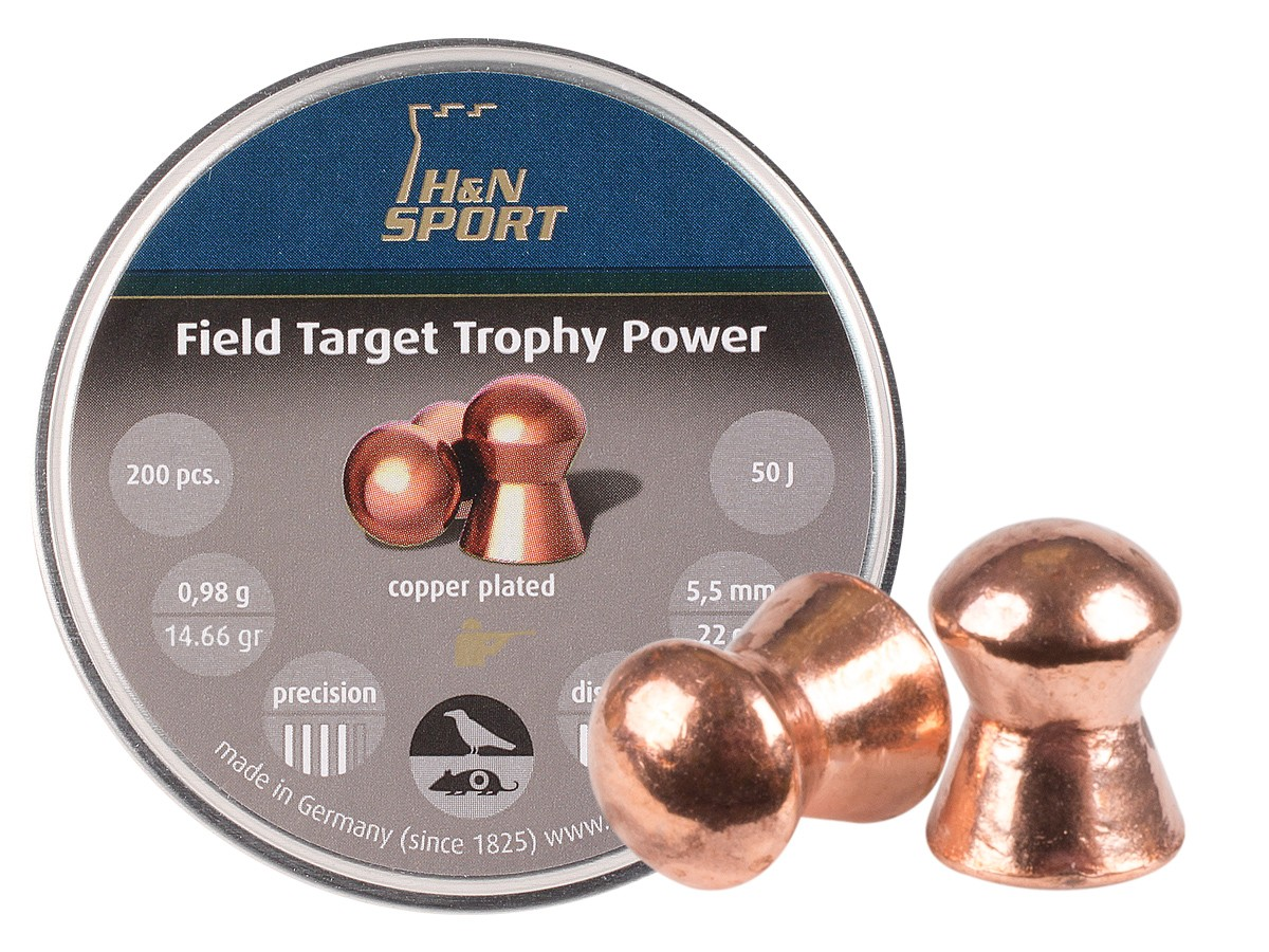 H&N Field Target Trophy Power Copper-Plated, .22 Cal, 14.66 Grains, Round Nose, 200ct