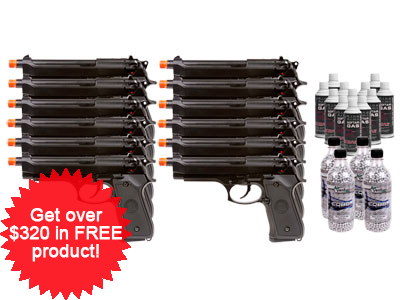 WE M-92 Military Spec Airsoft Pistol, 12 Pack
