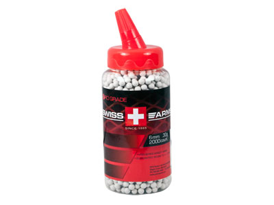 Swiss Arms 6mm Airsoft BBs, 0.30g, 2,000 Rds, White