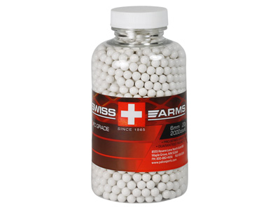 Swiss Arms 6mm Pro Grade Airsoft BBs, 0.20g, 2,000 Rds, White