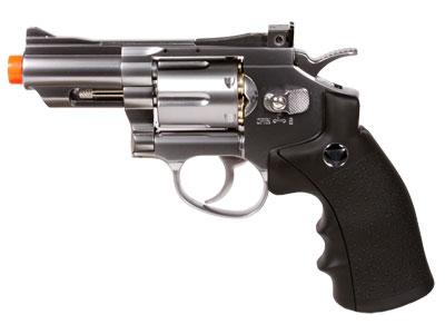 TSD/WG 708 CO2 Airsoft Revolver, Silver/Black