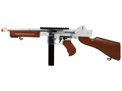 Thompson M1 Spring Airsoft Submachine Gun, Clear