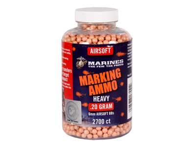 Marines Airsoft Plastic Airsoft Marking BBs, 0.20g, 2,700 Rds, Orange