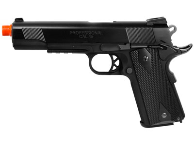 WE M1911 Tactical Gas Pistol, Black w/Blk Grips