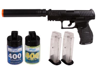 Walther PPQ Combat Airsoft Pistol Kit, Black