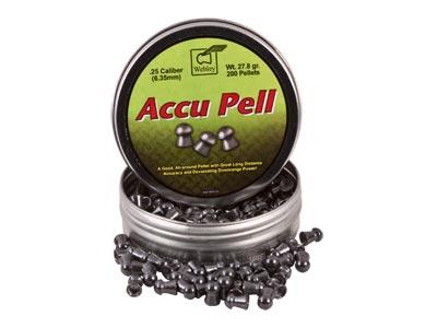 Webley Accu Pell Pellets, .25 Cal, 27.80 Grains, Domed, 200ct