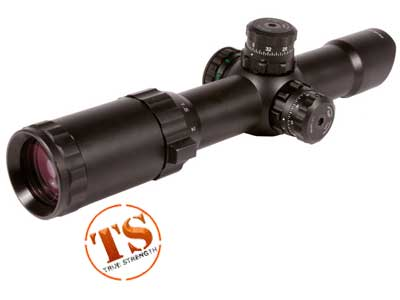 UTG 1-4x24 CQB Rifle Scope, Illuminated Floating Mil-Dot Reticle, 1/2 MOA, 30mm Tube, Low Max Strength Lever Lock Weaver Rings