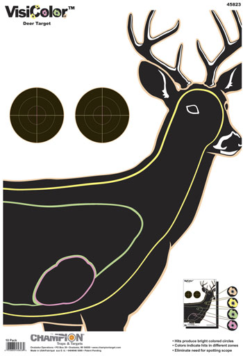 Champion VisiColor High-Visibility Paper Targets, Deer, 13x18  - 10pk