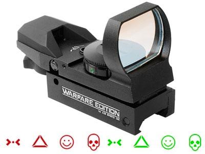 AIM Sports Warfare Edition Red/Green Dot Sight, 4 Ill. Reticles, Weaver/Picatinny Mount