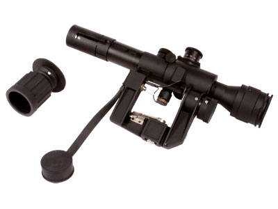 "AMP Tactical 4x26 SVD Rifle Scope, Red Illuminated SVD Type Reticle, 1/4 MOA, 1"" Tube, Integral Mount"