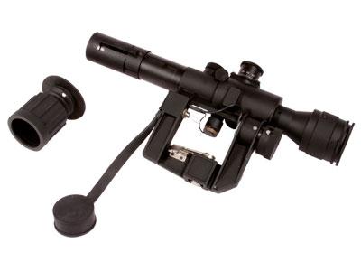 "AMP Tactical 4x26 SVD Rifle Scope, Red Illuminated SVD Type Reticle, 1/4 MOA, 1"" Tube, Integral Mount"