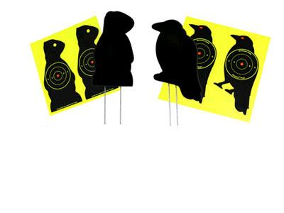 "Air Venturi Mr. Crow & Mr. Chuck Corrugated Plastic Silhouette Targets, 7.5"", 3"" Bullseye"