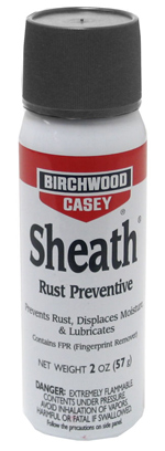 Birchwood Casey Sheath Rust Preventive 2-oz. aerosol spray. Contains Fingerprint Remover (FPR).