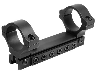 "BKL 1-Pc Adjustable Scope Mount, 30mm Rings, 3/8"" or 11mm Dovetail, Black"