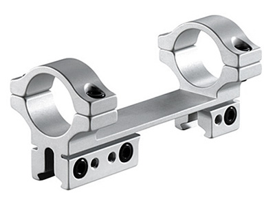 "BKL 1-Pc Mount, 4"" Long, 1"" Rings, 3/8"" or 11mm Dovetail, For Bolt-Action Guns, Silver"
