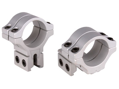 "BKL 30mm Rings, 3/8"" or 11mm Dovetail, Double Strap, Offset, Silver"