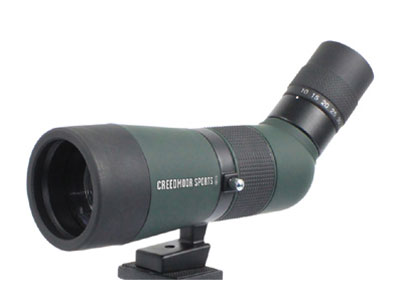 Creedmoor Sports 12-36x60 Spotting Scope, Angled Body, Rotating Ring Stand, Table Tripod